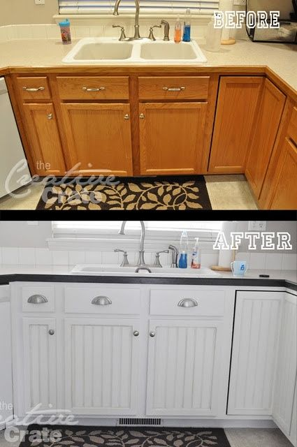 Add bead board to flat panel cabinets and paint...She's got an AMAZING bathr...