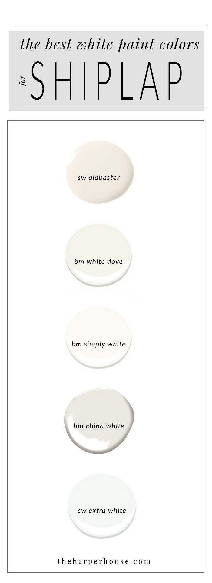 White Paint Colors: 5 Favorites for Shiplap