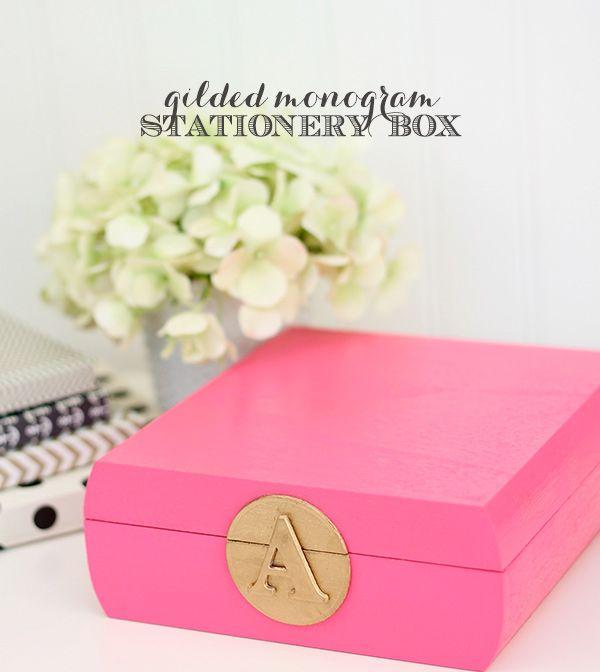 DIY Monogram Stationery Box | Damask Love