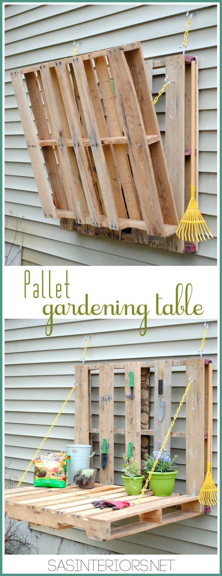 #DIY: Vertical Pallet Gardening Table - No more gardening on the ground with a h...