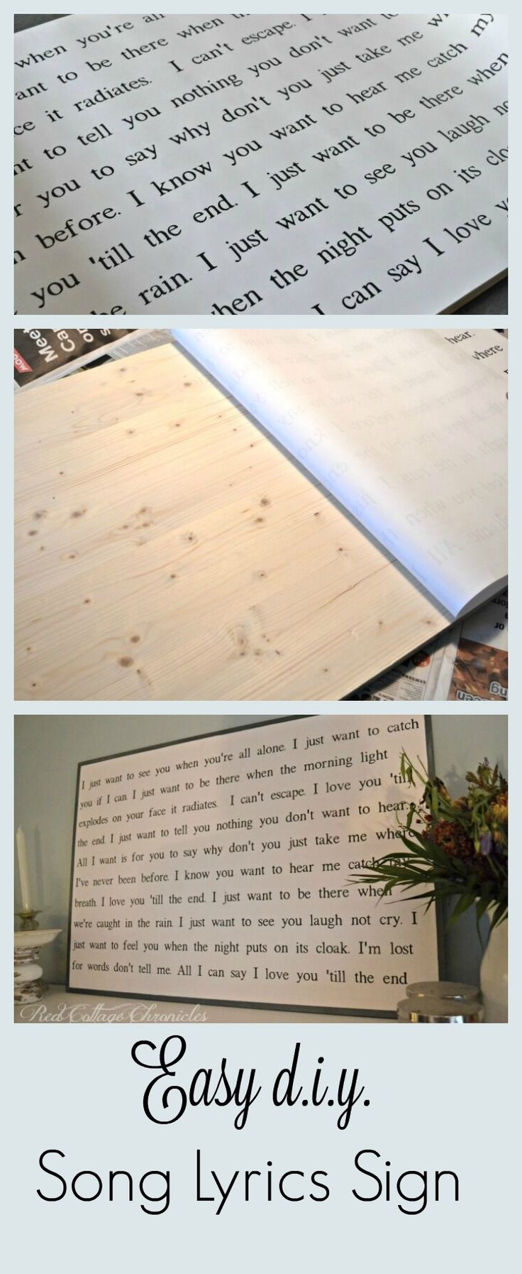 Decor s : Easy DIY Song Lyrics Sign No Sign Painting Skills ... on avalon homes, tennessee homes, luxury homes,