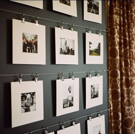 Ikea curtain rod and unframed photos. simple artsy photo gallery wall. @ Pin You...
