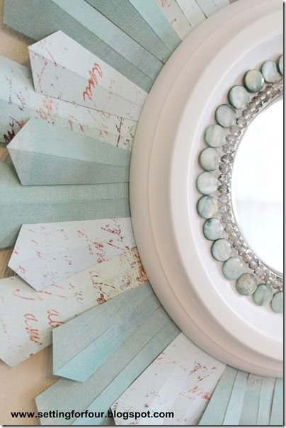 Tutorial for a sparkly DIY Sunburst Mirror - using beads, a ceiling medallion an...