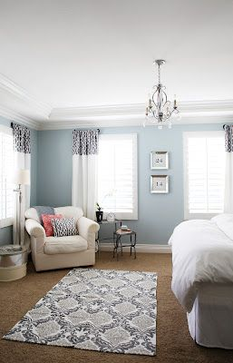 Master Bedroom. Wall color: Benjamin Moore - Smoke. Drapes -- Tutorial. love, co...
