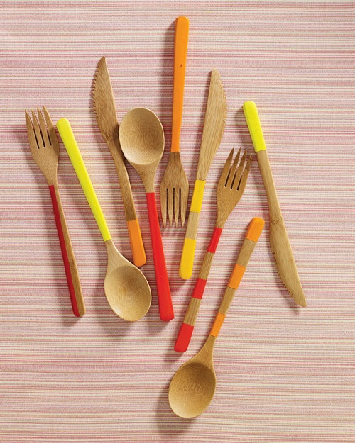 diy bamboo cutlery with painted stripes
