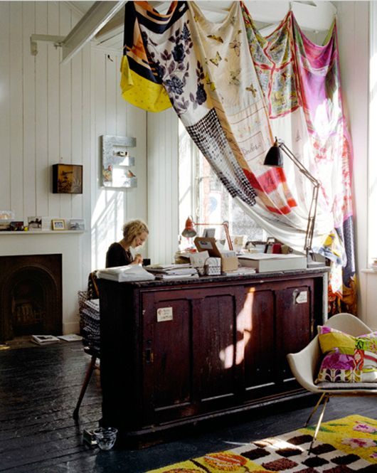 Vintage scarf curtains - as room dividers (i need this to hide my office)