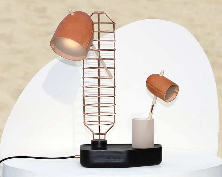 Interior Design Magazine: Standard table lamp in oak, copper, dyed acrylic, rawh...