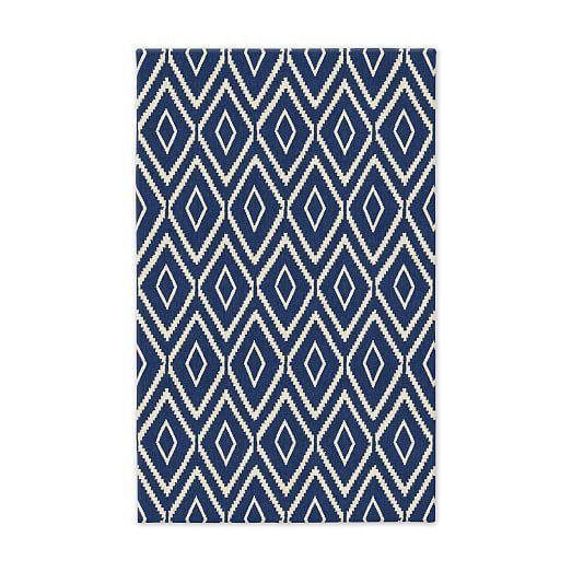 Rugs home decor kite wool kilim true blue west elm Home decor rugs