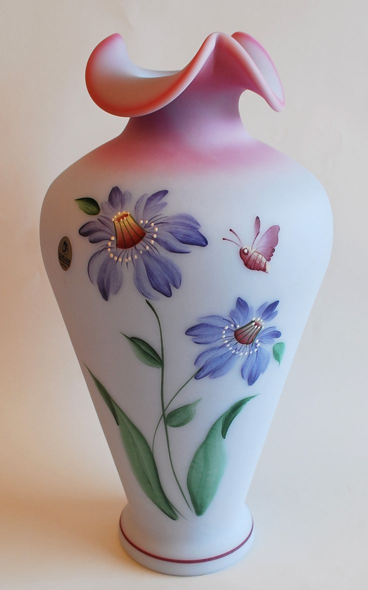 Vases home decor fenton purple passion flowers blue burmese vase 2001 decor object your - Great decorative flower vase designs ...