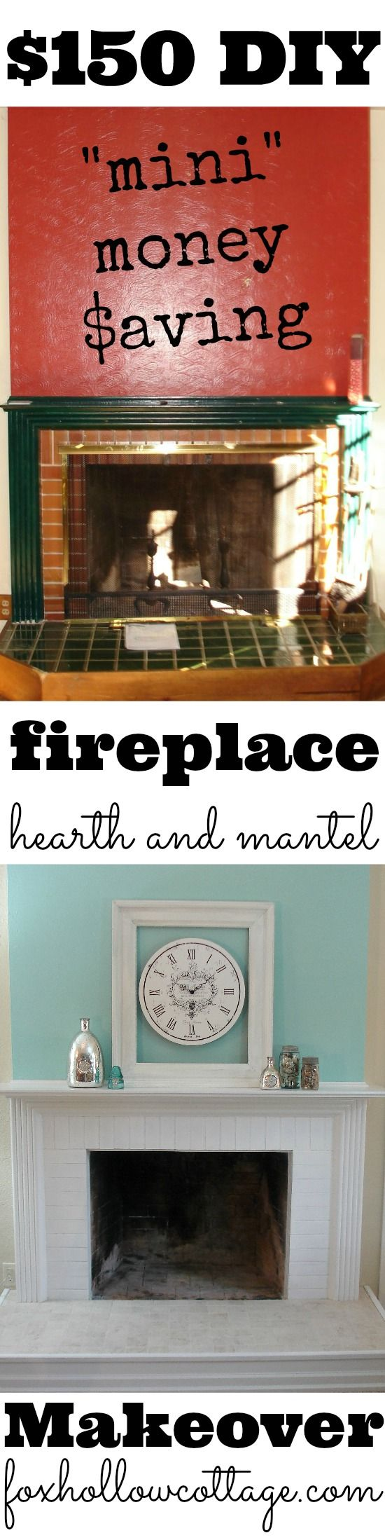 Budget DIY Fireplace Hearth and Mantel Makeover www.foxhollowcott...