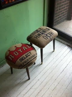 Burlap sack stools.