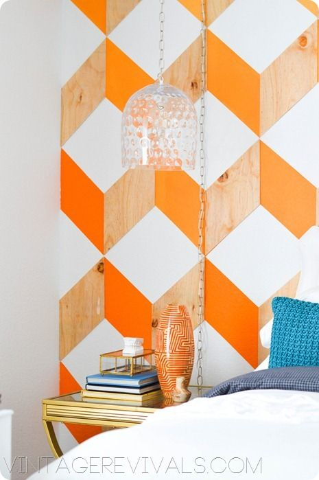 Love this wood and paint wall treatment from Vintage Revivals.