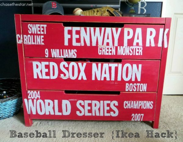 Red Sox Baseball Dresser {Ikea Hack} via Chase the Star