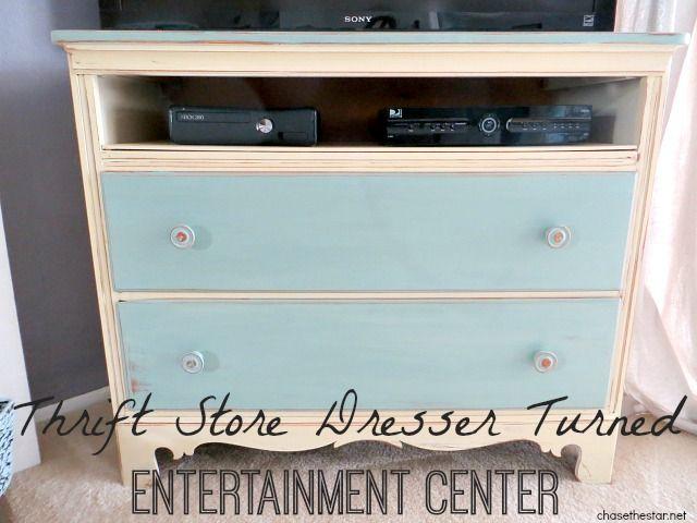 Thrift Store Dresser Turned Entertainment Center