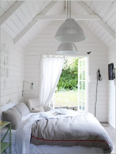 Bedroom - White timber walls, comfy bed, gorgeous french doors leading to a gard...