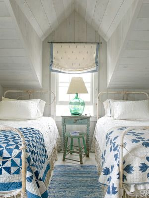 blue & white country attic bedroom