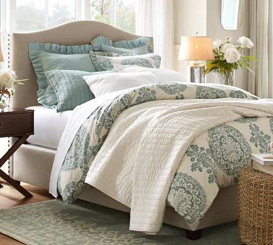 Colors & Raleigh Upholstered Camelback Bed & Headboard with Nailhead | Pottery B...