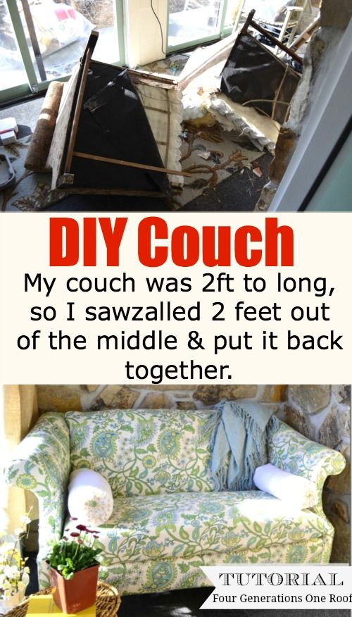 DIY couch. Now dont laugh. I had a couch that was two feet to long so I took a s...