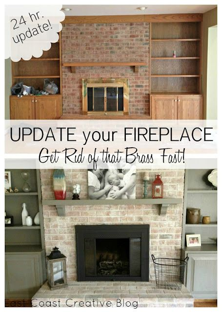 How to paint a brick fireplace & brass hardware in a day.