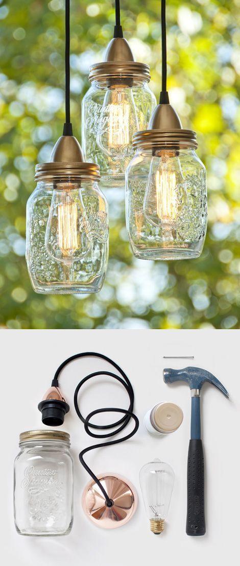 light it up with a mason jar pendant lamp