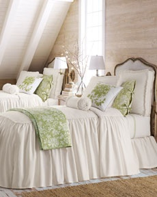 Twin beds for a guest room. Love the gathered skirts of the full drop bedspreads...