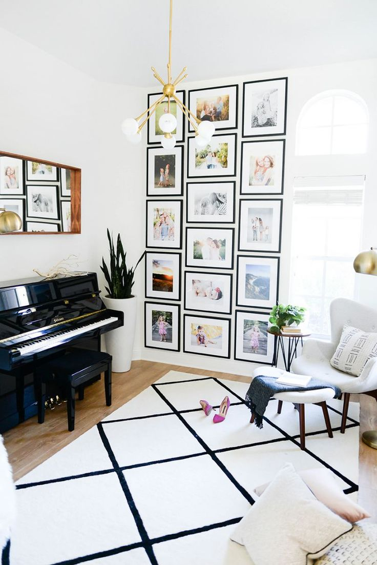 Home Decor - Living Room : 3-column gallery wall with black frames ...