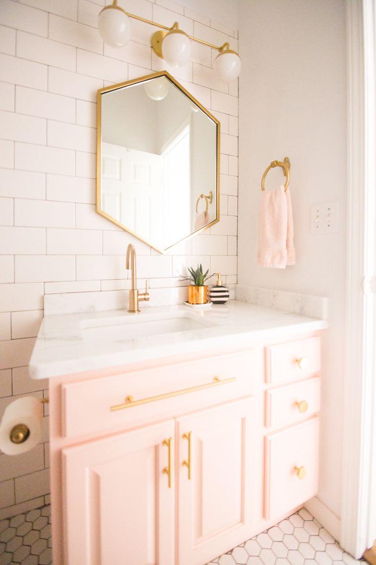 Home decorating diy projects modern glam blush girls for Girls bathroom decor ideas