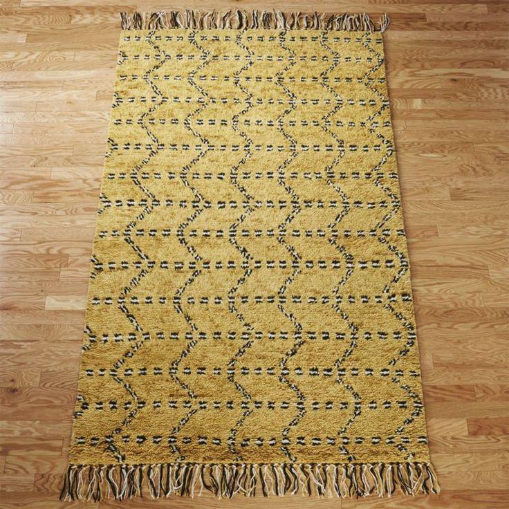 safari shag.  Moroccan-style rug abstracts an almost animal print. Plush yellow ...
