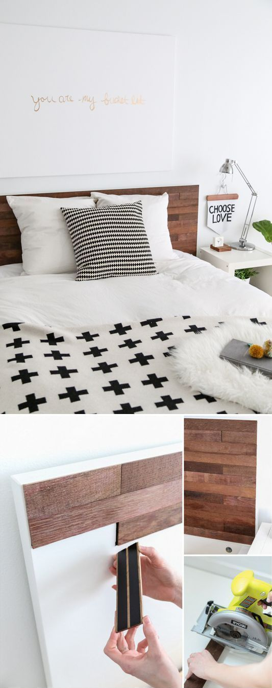 This DIY Ikea Hack Stikwood Headboard is simple and adds so much character to a ...
