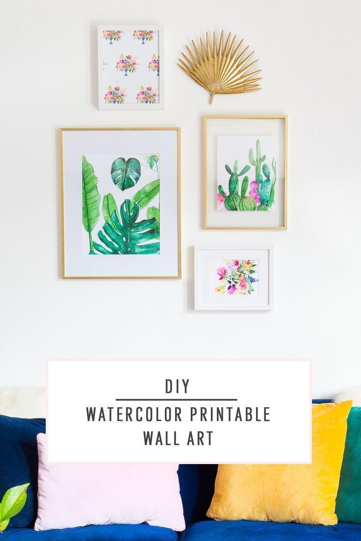 DIY Watercolor Printable Wall Art by top Houston lifestyle blogger Ashley Rose o...