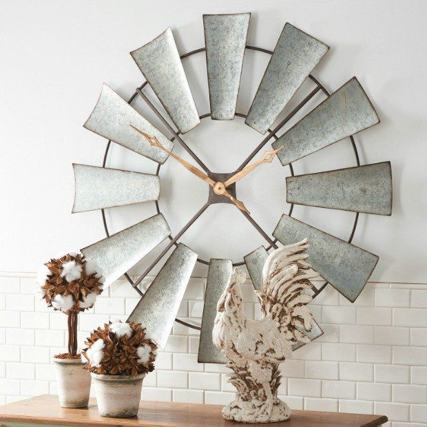 Large Farmhouse Windmill Clock