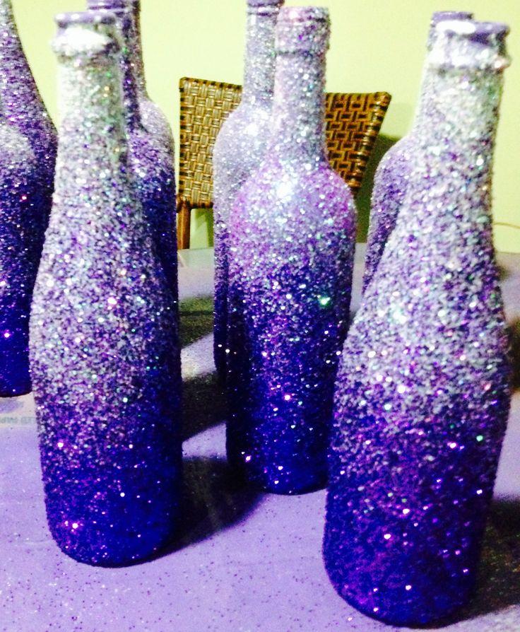 Decorative Bottles Glittered Wine Bottles We Spray
