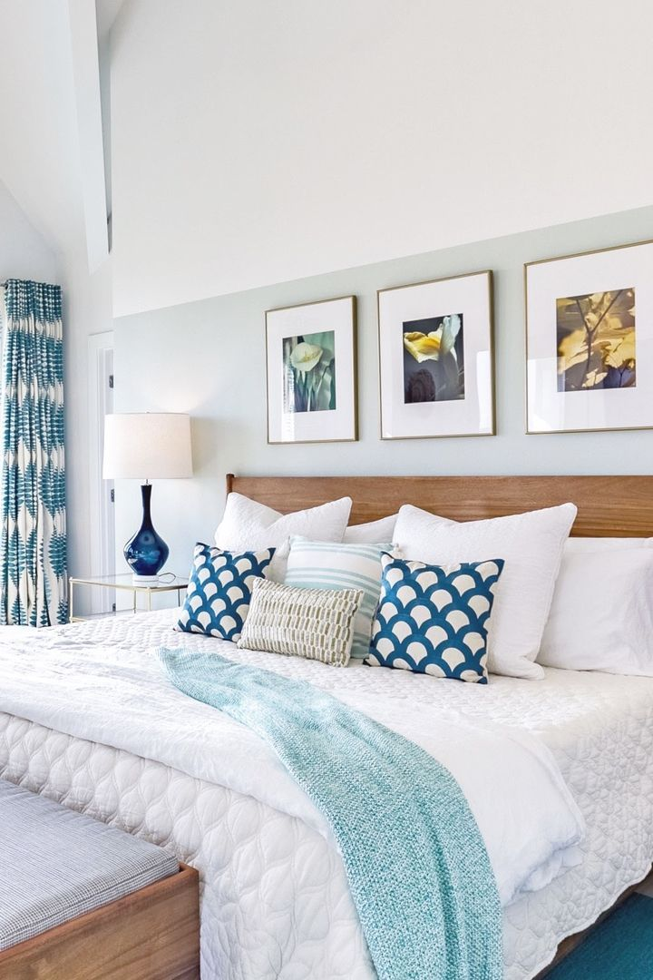 Home Decor Bedrooms Beach House Bedroom With Teal Accents