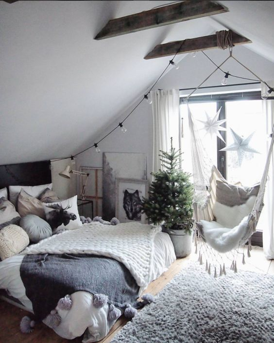 Furniture - Bedrooms : Boho gray bedroom - Decor Object ...