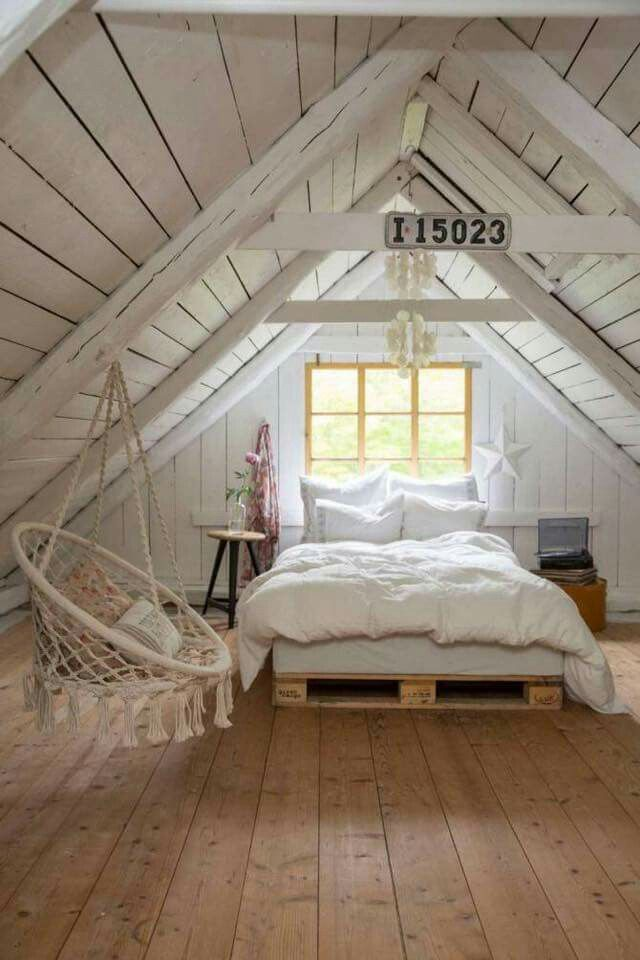 Cozy Cottage Style Bedroom In The Attic Wide Plank Wood Floors White And
