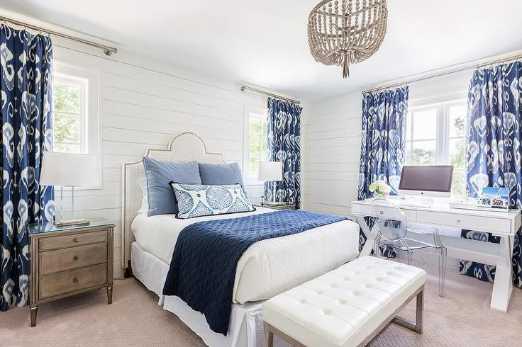 Furniture Bedrooms White And Blue Bedroom Boasts Shiplap Walls