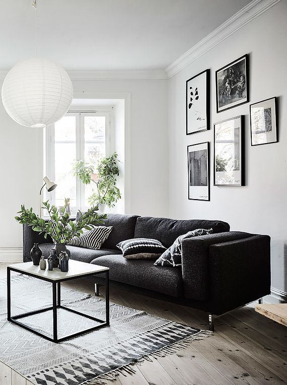 Furniture - Living Room : Living room in black, white and ...
