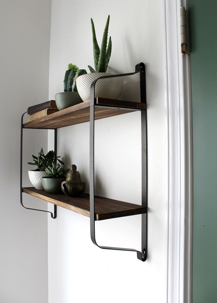 Home Decorating Diy Projects 2 Tier Shelving With Live Plants And