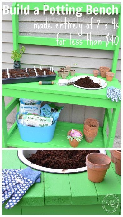 DIY Potting Bench - Made Entirely of 2 x 4s