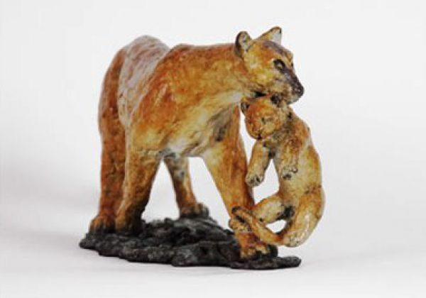 #Bronze on Bronze Base #sculpture by #sculptor Cynthia Lewis titled: 'Cougar and...