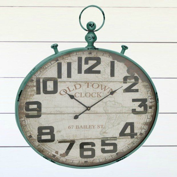 Old Town Farmhouse Metal Wall Clock