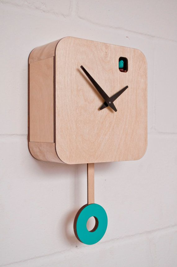 Turquoise Plywood Quartz Cuckoo Clock and pendulum by pedromealha, £135.00
