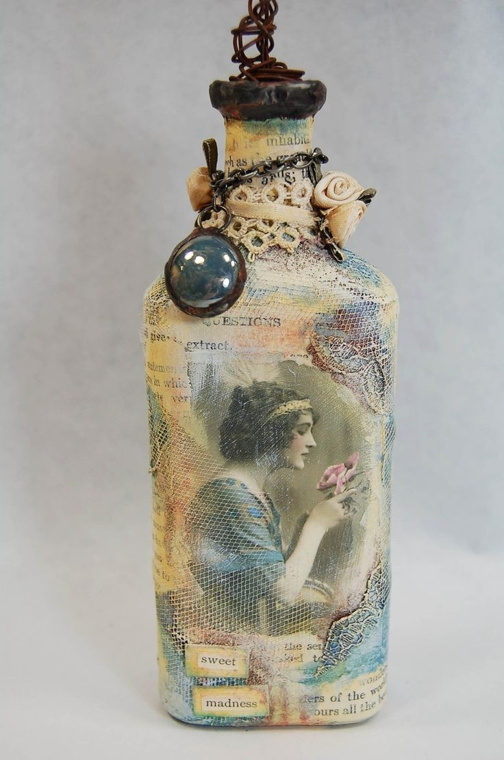 Decorative Bottles 55 Ideas Of Decoupage On The Glass