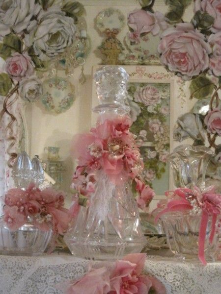 Large Pink Vintage Millinery Bottle good site for altered and jewelled bottles