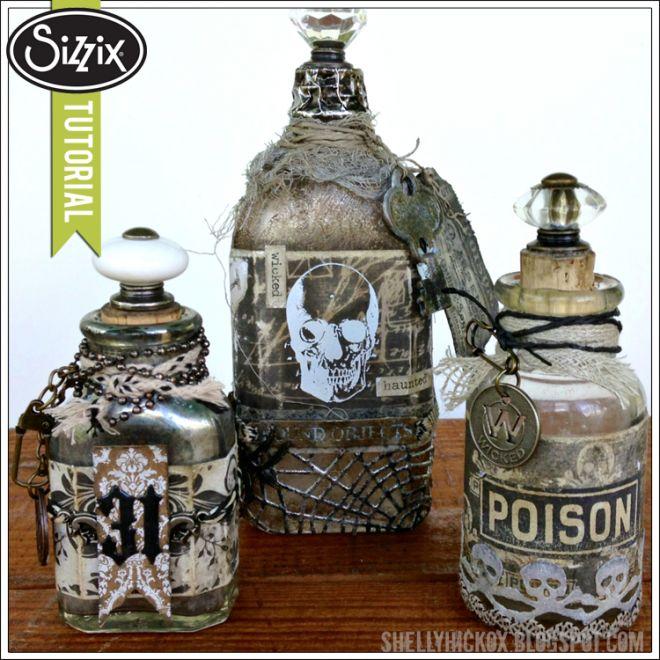 Spooky Altered Halloween Bottles  blog.sizzix.com/...