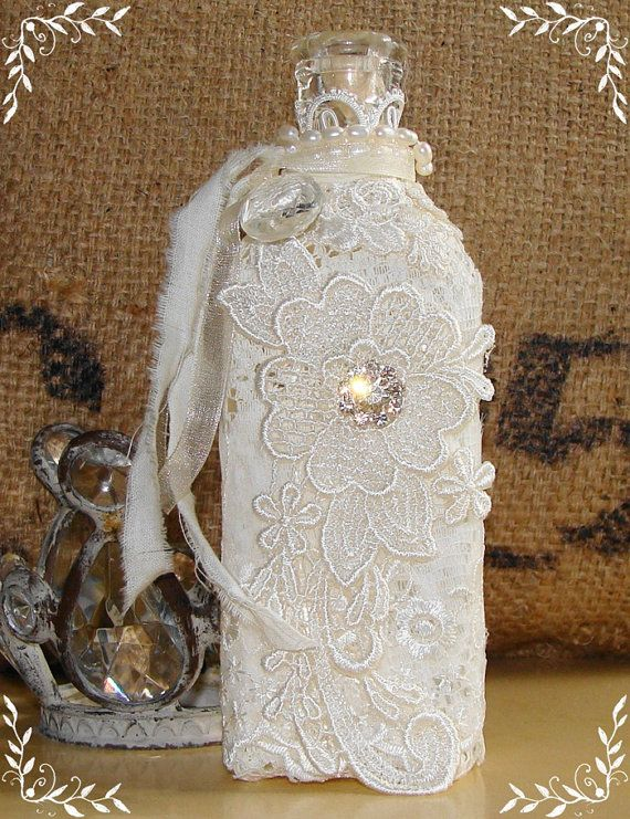 Vintage Bottle Embellished with Lace, Pearls and Rhinestones. Another great vint...