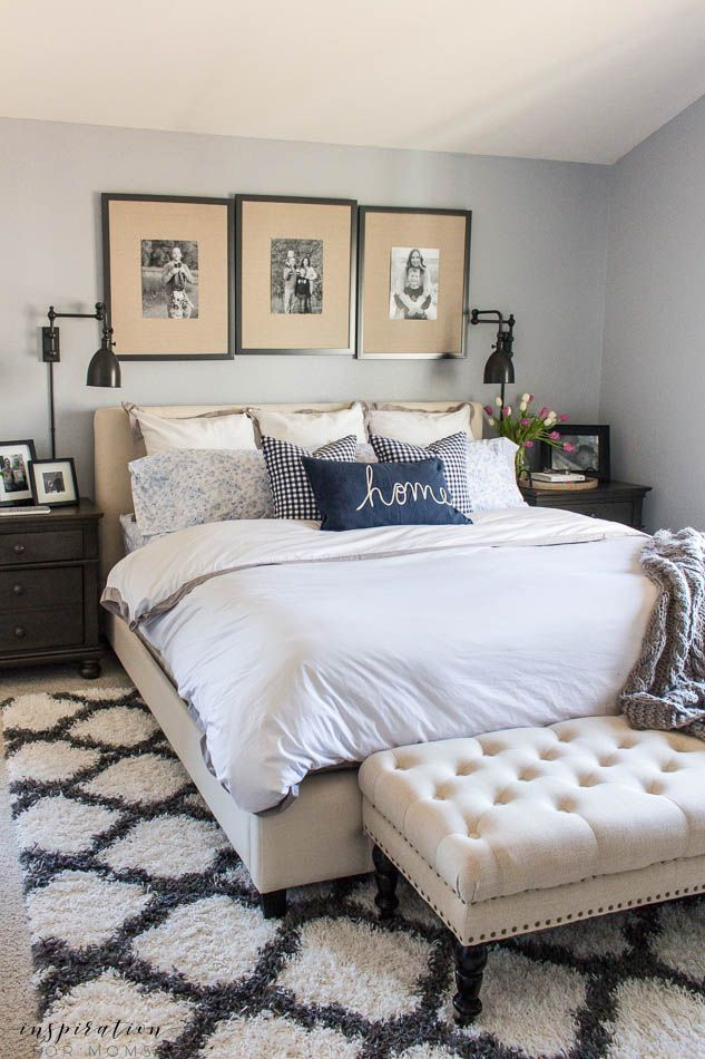 https://decorobject.com/wp-content/uploads/2018/04/home-decorating-diy-projects-spring-master-bedroom-gingham-pillows-navy-white-gray-upholstered-bench.jpg