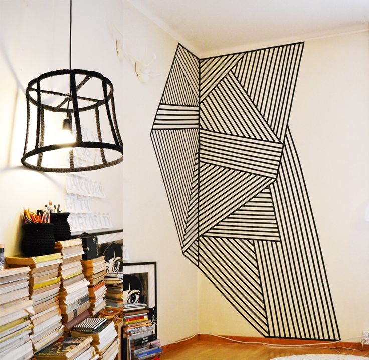 Wall Decoration Made With Black Plastic Tape ::