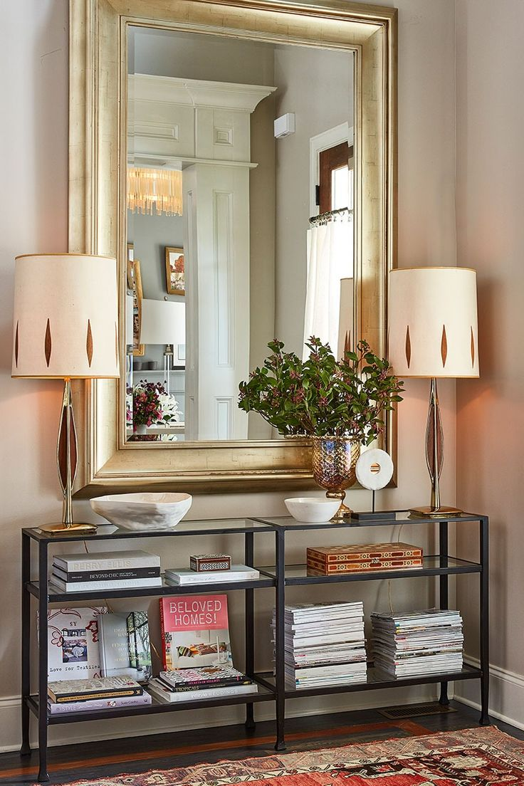 Stylist Natalie Nassars Atlanta Home Has A Narrow Entry That Shes Outfitted With Console And An Oversized Mirror