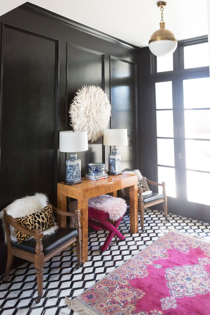 How to Use A Juju Hat in Home Decor black and white marble floors black high glo...